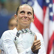 Roberta Vinci, Italy, at the trophy presentation after  the Women's Singles Final match during the US Open Tennis Tournament, Flushing, New York, USA. 12th September 2015. Photo Tim Clayton