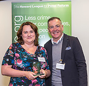 Professor David Wilson with Sarah Swindley of  Lancashire Women's Centres, winner in the women category. The Howard League for Penal reform's Community Awards 2015 The Kings Fund, London, UK. All use must be credited © prisonimage.org