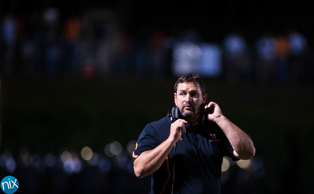 Northwest Cabarrus head coach Rich WIlliams during a game against Mount Pleasant Friday night at Northwest Cabarrus High School. (Photo by James Nix)