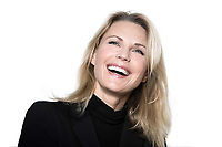 beautiful blond hair woman smiling laugh happy portrait on studio white isolated background