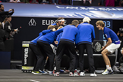 September 22, 2018 - Chicago, Illinois, U.S - Members of Team Europe celebrate with teammate ALEXANDER ZVEREV of Germany after his win during the first singles match between Team Europe and Team World on Day Two of the Laver Cup at the United Center in Chicago, Illinois. (Credit Image: © Shelley Lipton/ZUMA Wire)