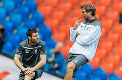 17.05.2016, St. Jakob Park, Basel, SUI, UEFA EL, FC Liverpool vs Sevilla FC, Finale, im Bild James Milner (FC Liverpool), Trainer Juergen Klopp (FC Liverpool) // Trainer Juergen Klopp (FC Liverpool) during the Training in front of the Final Match of the UEFA Europaleague between FC Liverpool and Sevilla FC at the St. Jakob Park Stadium in Basel, Switzerland on 2016/05/17. EXPA Pictures © 2016, PhotoCredit: EXPA/ JFK