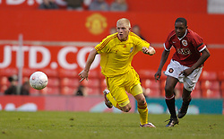 Manchester, England - Thursday, April 26, 2007: Liverpool's Michael Burns in action against Manchester United's Daniel Welbeck during the FA Youth Cup Final 2nd Leg at Old Trafford. (Pic by David Rawcliffe/Propaganda)