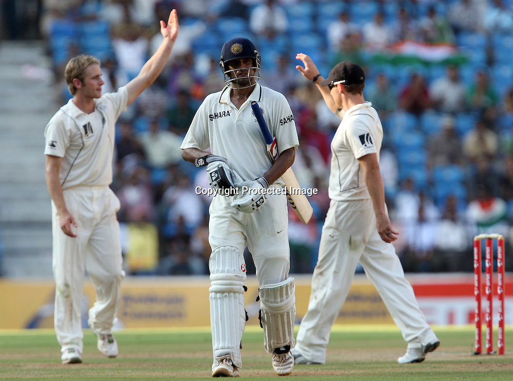 New Zealand Player Kane Williamson celebrates with Brendon McCullum Indian batsman Rahul Dravid wicket during the 3rd test match India vs New Zealand day-3 Played at Vidarbha Cricket Association Stadium, Jamtha, Nagpur, 22, November 2010 (5-day match)