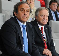 06.09.2011, Ernst Happel Stadion, Wien, AUT, UEFA EURO 2012, Qualifikation, Oesterreich (AUT) vs Tuerkei (TUR), im Bild UEFA Praesident Michel Platini und OEFB-Praesident Leo Windtner // during the UEFA Euro 2012 Qualifier Game, Austria vs Turkey, at Ernst Happel Stadium, Vienna, 2011-09-06, EXPA Pictures © 2011, PhotoCredit: EXPA/ M. Gruber