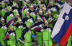 PYEONGCHANG-GUN, SOUTH KOREA - FEBRUARY 09: Team Slovenia during the Opening Ceremony of the PyeongChang 2018 Winter Olympic Games at PyeongChang Olympic Stadium on February 9, 2018 in Pyeongchang-gun, South Korea. Photo by Kim Jong-man / Sportida