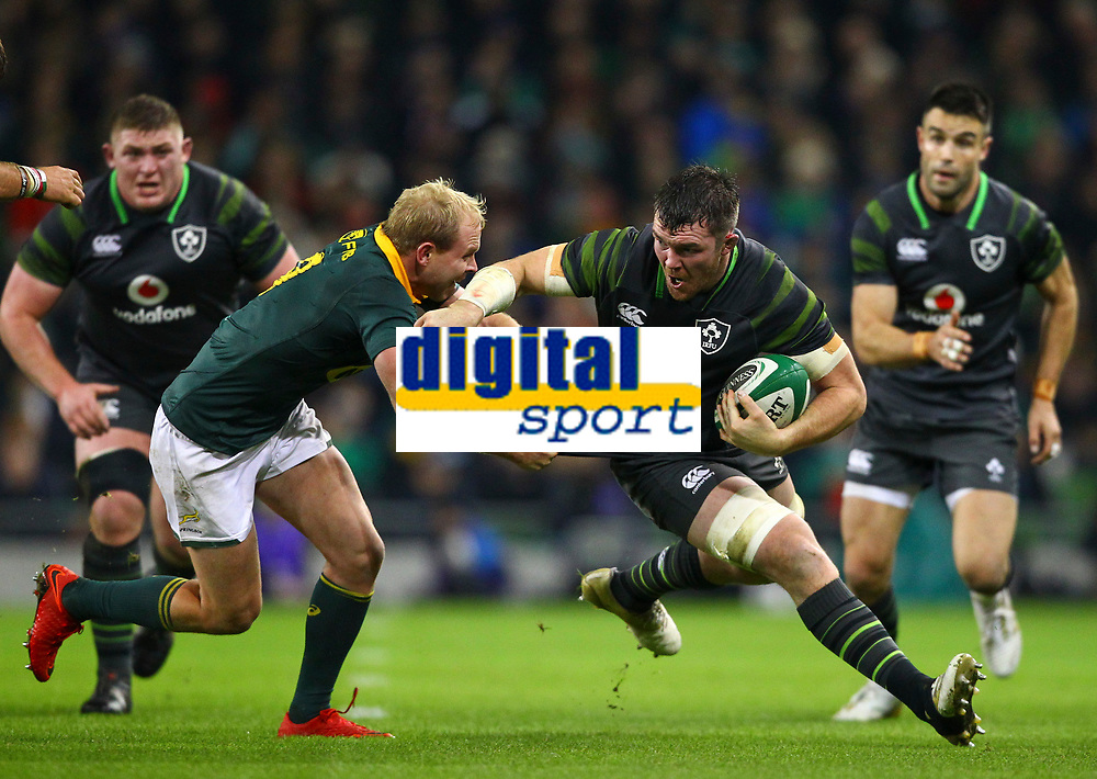 Rugby Union - 2017 Guinness Series (Autumn Internationals) - Ireland vs. South Africa<br /> <br /> Ireland's Peter O'Mahony in action against South Africa's Ross Cronje, at the Aviva Stadium.<br /> <br /> COLORSPORT/KEN SUTTON
