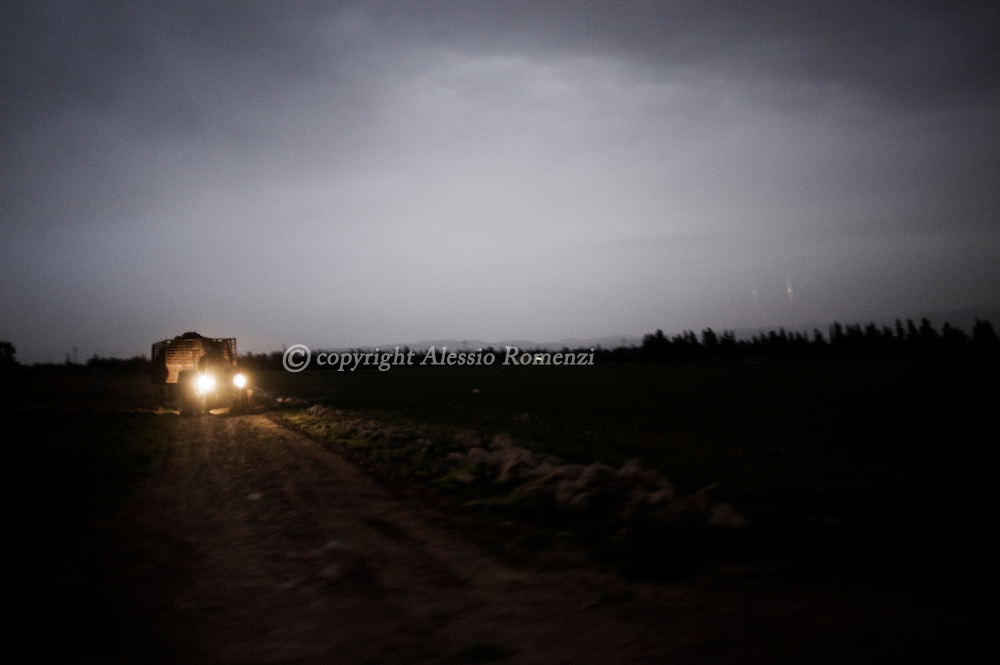 SYRIA - Homs province: A tractor in the countryside of Homs, on February 18, 2012. ALESSIO ROMENZI