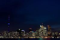 The Toronto skyline and CN Tower at dusk as seen from Toronto Island. © Allen McEachern.