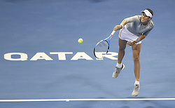 DOHA, Feb. 19, 2018  Garbine Muguruza of Spain serves during the single's final match against Petra Kvitova of Czech Republic at the 2018 WTA Qatar Open in Doha, Qatar, on Feb. 18, 2018. Petra Kvitova won 2-1 to claim the title. (Credit Image: © Nikku/Xinhua via ZUMA Wire)