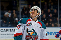KELOWNA, CANADA - FEBRUARY 6:  Alex Swetlikoff #17 of the Kelowna Rockets watches the replay on the jumbotron of his first WHL career goal against the Spokane Chiefs on February 6, 2019 at Prospera Place in Kelowna, British Columbia, Canada.  (Photo by Marissa Baecker/Shoot the Breeze)