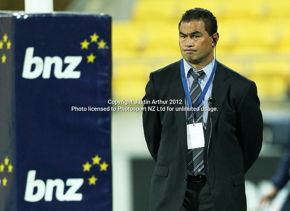 Blues' Head coach Pat Lam during the 2012 Super Rugby season, Hurricanes v Blues at Westpac Stadium, Wellington, New Zealand on Friday 4 May 2012. Photo: Justin Arthur / photosport.co.nz