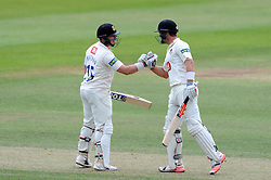 Sussex's Matt Machan and Chris Nash celebrate their 200 partnership. - Photo mandatory by-line: Harry Trump/JMP - Mobile: 07966 386802 - 08/07/15 - SPORT - CRICKET - LVCC - County Championship Division One - Somerset v Sussex- Day Four - The County Ground, Taunton, England.