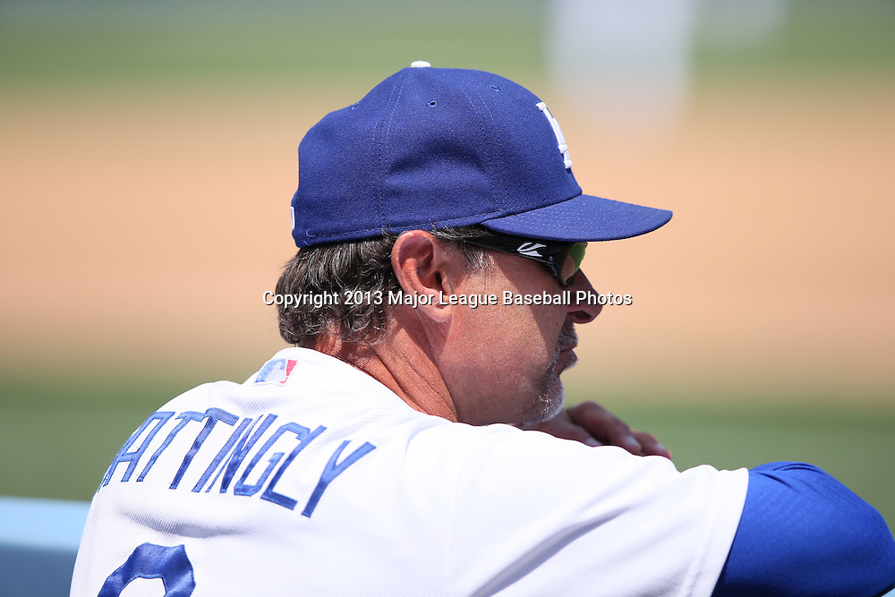 LOS ANGELES, CA - APRIL 28:  Don Mattingly #8 of the Los Angeles Dodgers looks on from the dugout during the game against the Milwaukee Brewers on Sunday, April 28, 2013 at Dodger Stadium in Los Angeles, California. The Dodgers won the game 2-0. (Photo by Paul Spinelli/MLB Photos via Getty Images) *** Local Caption *** Don Mattingly