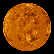 This global view of the surface of Venus is centered at 0 degrees east longitude. Magellan.