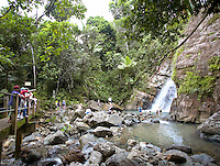 people on path at La Mina Falls in El Yunque rainforest, Puerto Rico