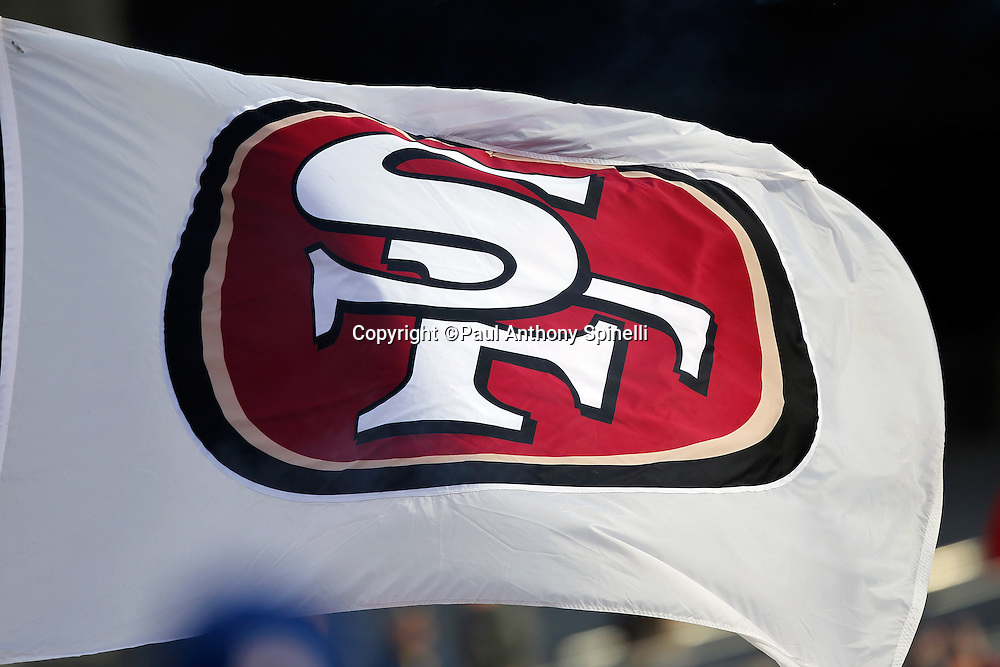 A San Francisco 49ers flag waves during the NFL week 11 football game against the Tampa Bay Buccaneers on Sunday, November 21, 2010 in San Francisco, California. The Bucs won the game 21-0. (©Paul Anthony Spinelli)