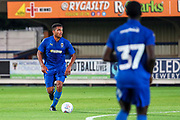 AFC Wimbledon Reuben Collins (36) dribbling during the Pre-Season Friendly match between AFC Wimbledon and Brentford at the Cherry Red Records Stadium, Kingston, England on 5 July 2019.