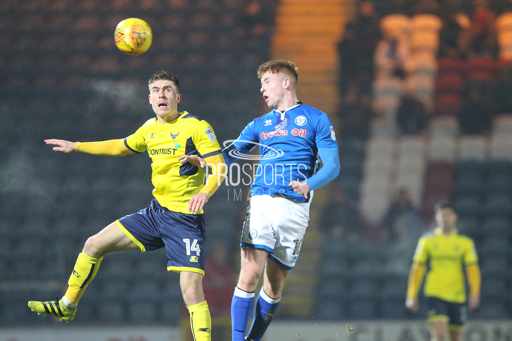 Callum Camps header which was cleared off the line during the EFL Sky Bet League 1 match between Rochdale and Oxford United at Spotland, Rochdale, England on 16 December 2017. Photo by Daniel Youngs.