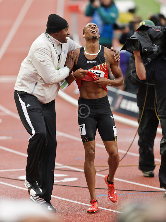 men's 800 meter final homestretch, Duane Solomon congratulated by coach Johnny Gray