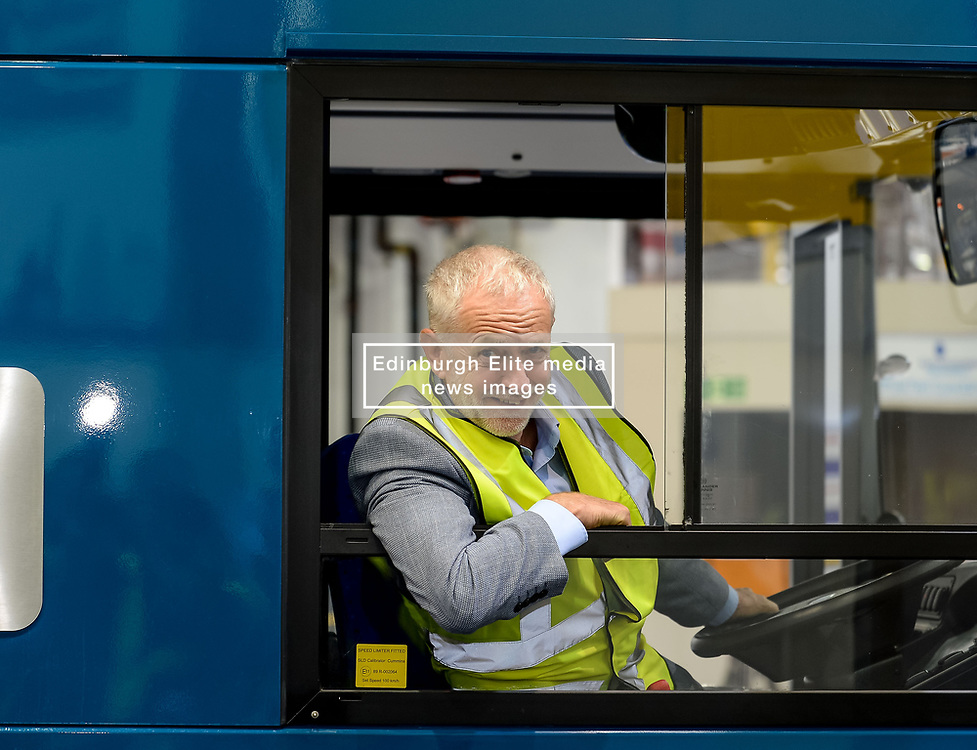 Labour leader Jeremy Corbyn tests out a new bus at the Alexander Denis factory in Falkirk.<br /> <br /> © Dave Johnston / EEm