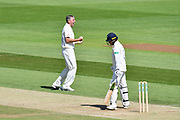 Wicket - Rikki Clarke of Surrey celebrates taking the wicket of Brad Taylor of Hampshire during the Specsavers County Champ Div 1 match between Hampshire County Cricket Club and Surrey County Cricket Club at the Ageas Bowl, Southampton, United Kingdom on 11 June 2018. Picture by Graham Hunt.