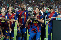17.08.2011, Camp Nou, Barcelona, ESP, Supercup 2011, FC Barcelona vs Real Madrid, im Bild FC Barcelona's Andres Iniesta, Pedro Rodriguez, Eric Abidal, Xavi Hernandez, Sandro Rossell and Cesc Fabregas celebrates the victory during Spanish Supercup 2nd match.August 17,2011. EXPA Pictures © 2011, PhotoCredit: EXPA/ Alterphotos/ Acero +++++ ATTENTION - OUT OF SPAIN / ESP +++++