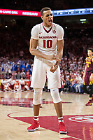 FAYETTEVILLE, AR - DECEMBER 9:  Daniel Gafford #10 of the Arkansas Razorbacks gets excited during a game against the Minnesota Golden Gophers at Bud Walton Arena on December 9, 2017 in Fayetteville, Arkansas.  The Razorbacks defeated the Golden Gophers 95-79.  (Photo by Wesley Hitt/Getty Images) *** Local Caption *** Daniel Gafford