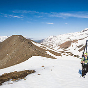 Berglind Aðalsteinsdóttir ascending mt. 1124m.  Flateyjardalur, Iceland.