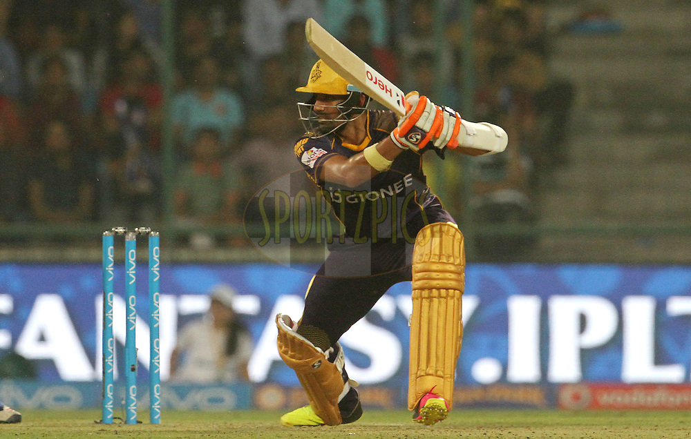 Kolkata Knight Riders player Robin Uthappa plays a shot during match 24 of the Vivo Indian Premier League ( IPL ) 2016 between the Mumbai Indians and the Kolkata Knight Riders held at the Wankhede Stadium in Mumbai on the 28th April 2016<br /> <br /> Photo by Vipin Pawar / IPL/ SPORTZPICS