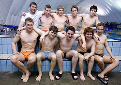 Coach Borut Klinec and Swimmers of PK Ilirija, on April 20, 2009, in Ljubljana, Slovenia. (Photo by Vid Ponikvar / Sportida)