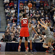 HARTFORD, CONNECTICUT- DECEMBER 19: Shayla Cooper #32 of the Ohio State Buckeyes shoots for three while defended by Katie Lou Samuelson #33 of the Connecticut Huskies in action during the UConn Huskies Vs Ohio State Buckeyes, NCAA Women's Basketball game on December 19th, 2016 at the XL Center, Hartford, Connecticut (Photo by Tim Clayton/Corbis via Getty Images)