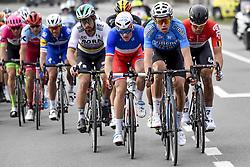 March 25, 2018 - Wevelgem, BELGIUM - Belgian Philippe Gilbert of Quick-Step Floors, Belgian Oliver Naesen of AG2R La Mondiale, Slovakian Peter Sagan of Bora-Hansgrohe, French Arnaud Demare of FDJ, Belgian Jens Debusschere of Lotto Soudal and Belgian Wout van Aert of Team Sniper pictured in action during the 80th edition of the Gent-Wevelgem cycling race, 251,1 km from Deinze, near Gent, to Wevelgem, Sunday 25 March 2018. BELGA PHOTO DIRK WAEM (Credit Image: © Dirk Waem/Belga via ZUMA Press)