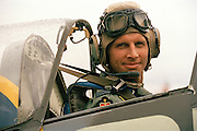 The Red Arrows pilot Flt. Lt. Matt Jarvis in the cockpit of a 2-seater Spitfire at RAF Scampton while helping raise funds for Macmillan cancer charity, Flt. Lt. Jarvis died in March 2005.