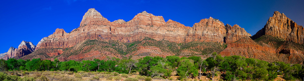 Panoramic view of rock formations of Zion National Park, from Springdale, Utah USA.