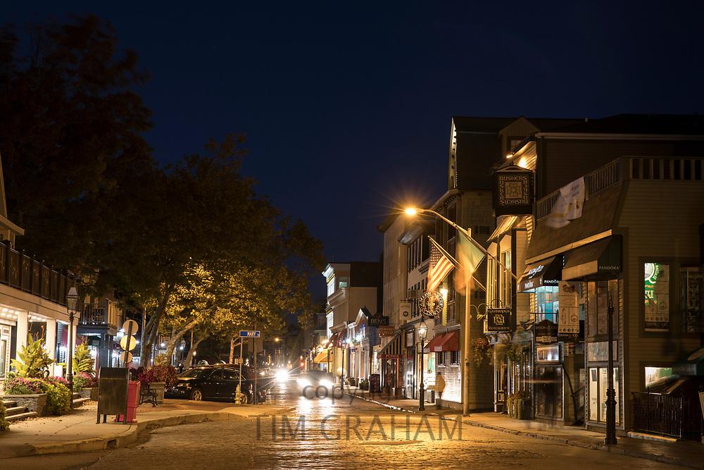 Nighttime street scene in Newport, Rhode Island, USA