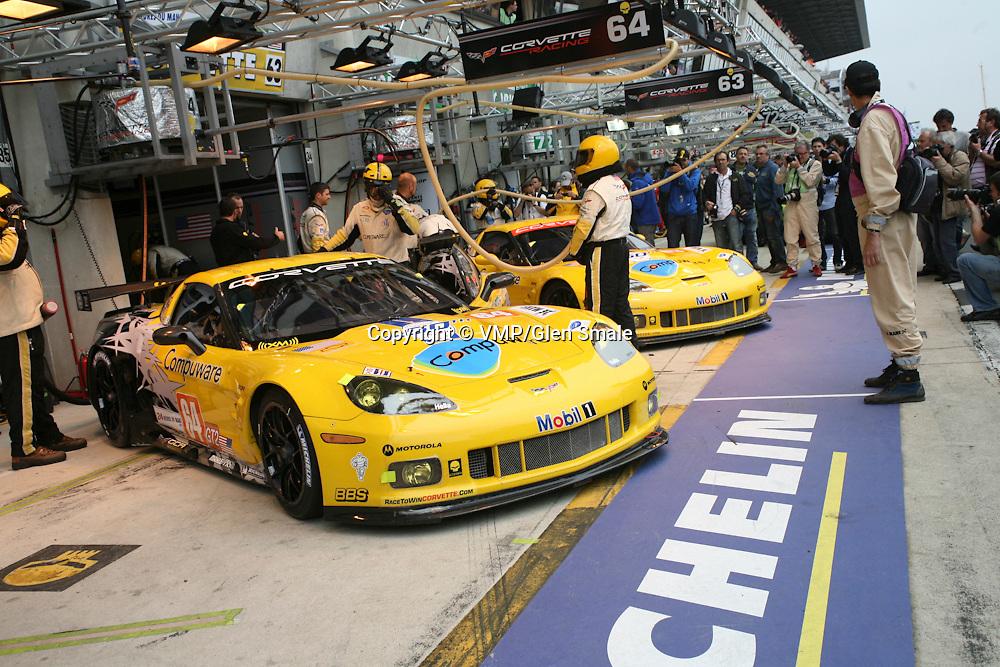 #64 Chevrolet Corvette C6.R - Corvette Racing with #63 Chevrolet Corvette C6.R - Corvette Racing, Pit Lane, LMGT2 Le Mans 24H 2010