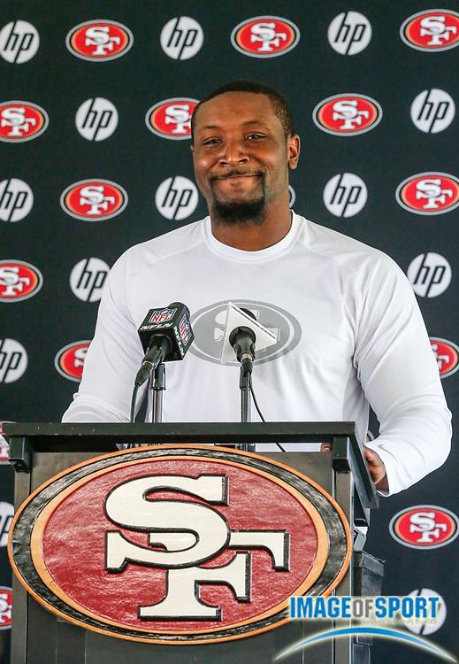 July 26, 2013; Santa Clara, CA, USA; San Francisco 49ers linebacker NaVorro Bowman addresses the media at training camp at the 49ers training facility.
