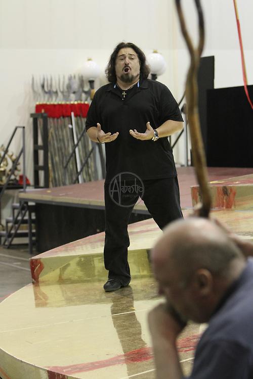Turandot Staging #1, Seattle Opera, July 11, 2012. Lina Tetriani, Peter Rose and Antonello Palombi.
