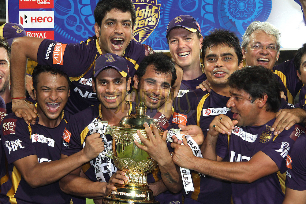 Kolkata Knight Riders celebrate after being crowned DLF IPL Champions during the final of the Indian Premier League ( IPL ) 2012  between The Kolkata Knight Riders and the Chennai Superkings held at the M. A. Chidambaram Stadium, Chennai on the 27th May 2012..Photo by Shaun Roy/IPL/SPORTZPICS
