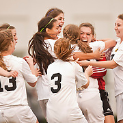 St. Petersburg Catholic's goalie Maggie Dalessio is mobbed by her teammates after she held Lake Highland Prep to one score in their shoot out victory.[WILLIE J. ALLEN JR., Times]