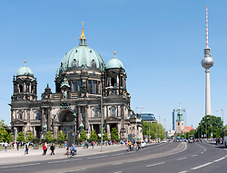The Cathedral or Dom on Museum Island with Fernsehturm in rear  in  Mitte Berlin