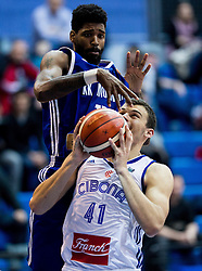 Octavius Ellis of KK Mornar vs Ante Zizic of Cibona during basketball match between KK Cibona Zagreb (CRO) and KK Mornar (MNE) in Round #4 of FIBA Champions League 2016/17, on November 9, 2016 in Drazen Petrovic Basketball center, Zagreb, Croatia. Photo by Vid Ponikvar / Sportida