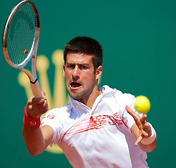 MONTE-CARLO, MONACO - Wednesday, April 14, 2010: Novak Djokovic (SRB) in action during his Men's Singles 2nd Round match on day three of the ATP Masters Series Monte-Carlo at the Monte-Carlo Country Club. (Photo by David Rawcliffe/Propaganda)