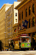 Image of a cable car in downtown San Francisco, California, America west coast