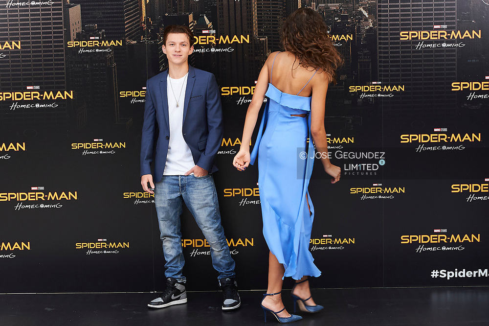 Zendaya, Tom Holland attends a photocall for 'Spider-Man: Homecoming' at the Villa Magna Hotel on June 14, 2017 in Madrid, Spain.