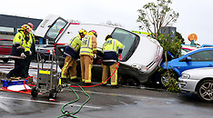 Auckland-Car crashes onto two vehicles in Henderson carpark