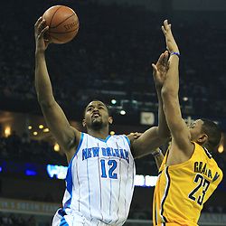 19 January 2009:  New Orleans Hornets center Hilton Armstrong (12) shoots over Indiana Pacers forward Stephen Graham (23) during a NBA regular season game between the Indiana Pacers and the New Orleans Hornets at the New Orleans Arena in New Orleans, LA. .