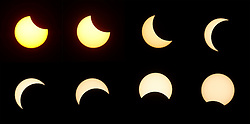© Licensed to London News Pictures. 09/03/2016 Ipoh, Malaysia. A combination picture showing a partial solar eclipse, seen over the city of Ipoh in Malaysia, Wednesday, March 9, 2016. Photo credit : Sang Tan/LNP