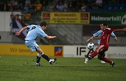 Carl Finnigan with a shot near the end.<br /> Vaduz 2 v 0 Falkirk FC at the Rheinpark Stadium for their Europa League second-round qualifier against Vaduz in Liechtenstein.<br /> ©2009 Michael Schofield. All Rights Reserved.